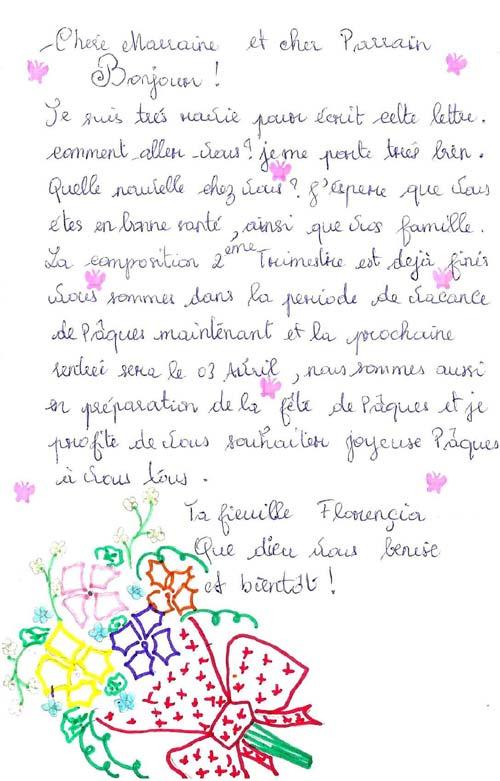 Lettre d'une orpheline de Madagascar à son parrain et sa marraine pour Pâques