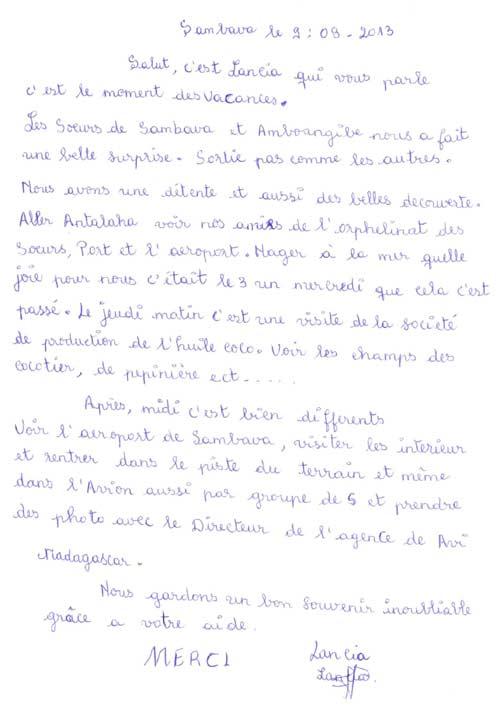 Lettre d'une orpheline de l'orphelinat de Sambava racontant son voyage à Antalaha