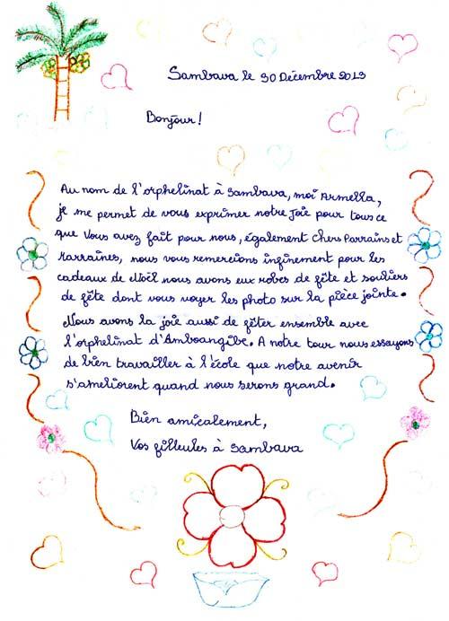 Lettre de Noël d'une orpheline de Sambava