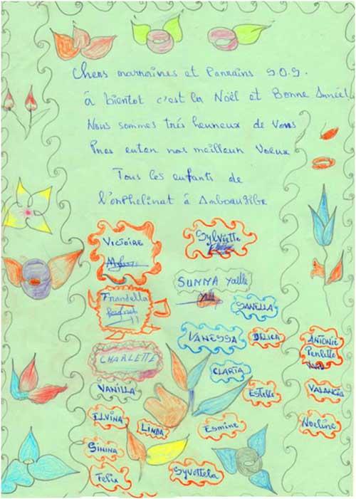 Lettre de voeux de l'orphelinat d'Amboangibé