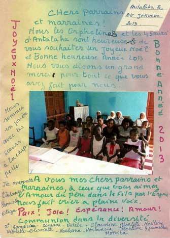 Voeux des orphelines d'Antalaha à Madagascar