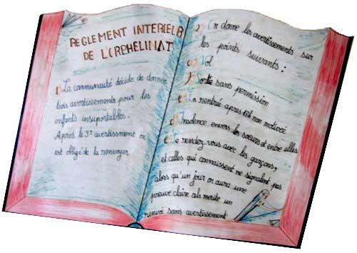 Le règlement intérieur de l'orphelinat St Joseph sur l'Ile Ste Marie