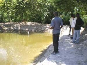 L'un des ingénieurs explique comment fertiliser les bassins