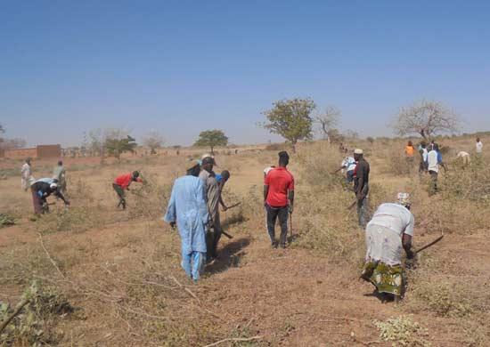 Défrichage du terrain par la population pour la construction du collège de Guiè au Burkina Faso
