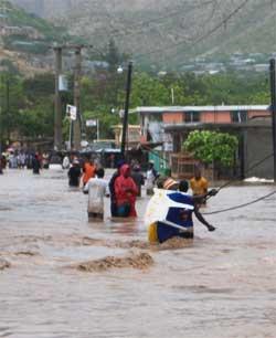 Inondation provoquée par l'ouragan Hanna sur Haïti
