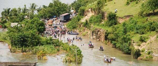 L'étang Miragoane déborde après le passage de l'ouragan Hanna sur Haïti