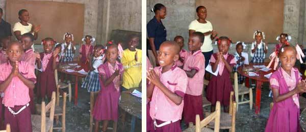 Les plus jeunes élèves sont installés dans l'ancien centre de formation de l'école St Alphonse de Cité Soleil