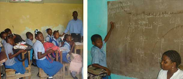 Classes de l'école de Fourgy en Haïti