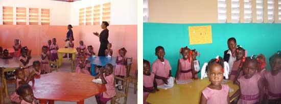Les enfants dans une classe de la section Préscolaire - Ecole St Alphonse, Cité Soleil, Haïti