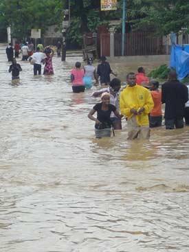 Inondation causée par le cyclone Sandy en Haïti sur La Plaine Fourgy