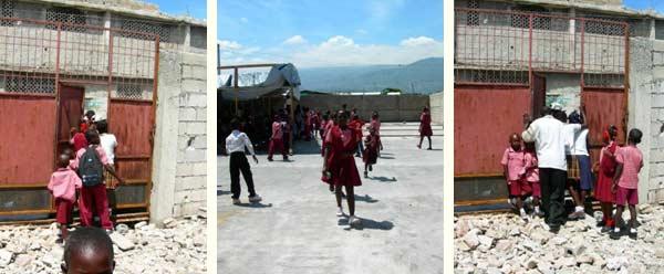 Locaux provisoires mais sécurisés et protégés par un mur d'enceinte et un portail tout neuf pour l'école St Alphonse de Cité Soleil en Haïti