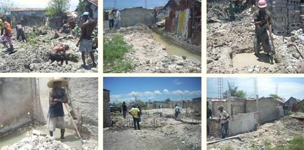 Préparation du terrain destiné aux classes du Préscolaire, école St Alphonse de Cité Soleil en Haïti