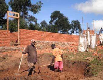 Chantier de construction de l'école primaire Vutegha au Nord Kivu, RD Congo